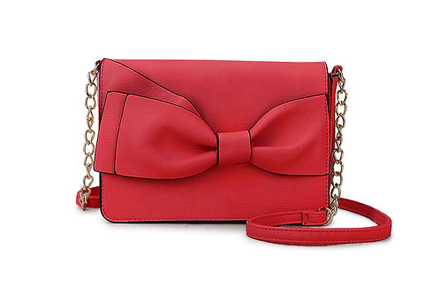 Bow detail Crossbody bag in Faux Leather and colored Red.