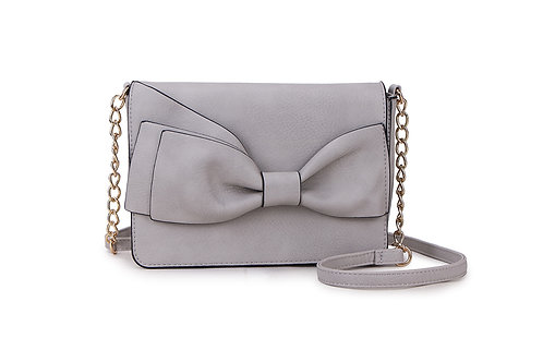 Bow detail Crossbody bag in Faux Leather and colored Light Grey.