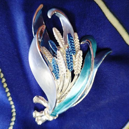 Elegant magnetic Fern Leaf  Brooch with in Blue and Silver Enamel.