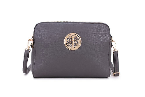 Cool Faux Leather Crossbody bag Gold Logo in Dark Grey.