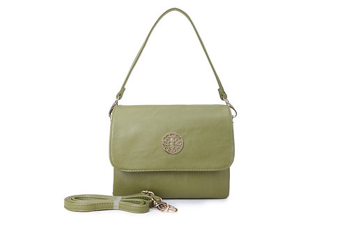 Cross-body / Shoulder bag with short handle also in Olive Green.