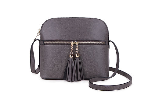 Gorgeous shoulder or cross-body bag with tassels in Dark Grey.