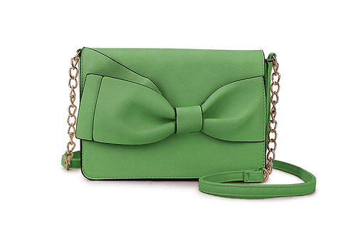 Bow detail Crossbody bag in Faux Leather and colored Soft Green.