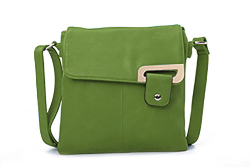 Crossbody with buckle design . Forest Green.