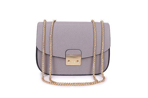 Shoulder bag with with versatile chain handle in Light Grey.