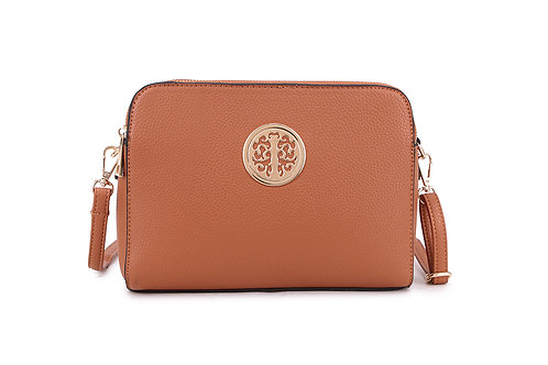 Cool Faux Leather Crossbody bag Gold Logo in Tancolour.