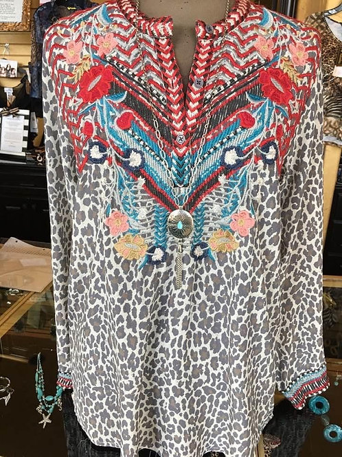 Johnny Was Animal Embroidered Top
