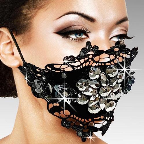 Crochet Lace Crystal Mask