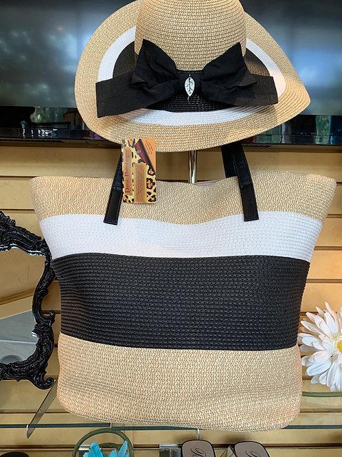Straw bag w/matching hat