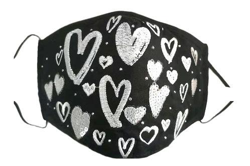 Black & White Hearts Mask