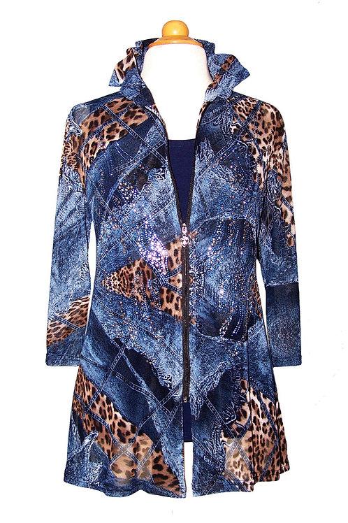 Sheer Denim/Animal Print Jacket/Tunic