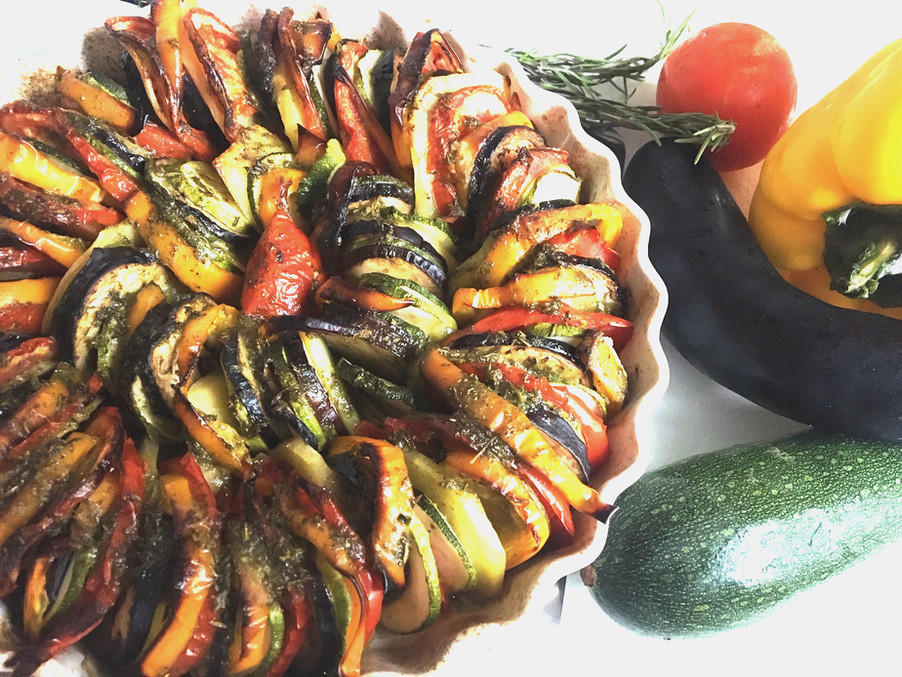 RATATOUILLE IN TEGLIA CON PESTO DI ERBE / BAKED RATATOUILLE WITH HERB PESTO