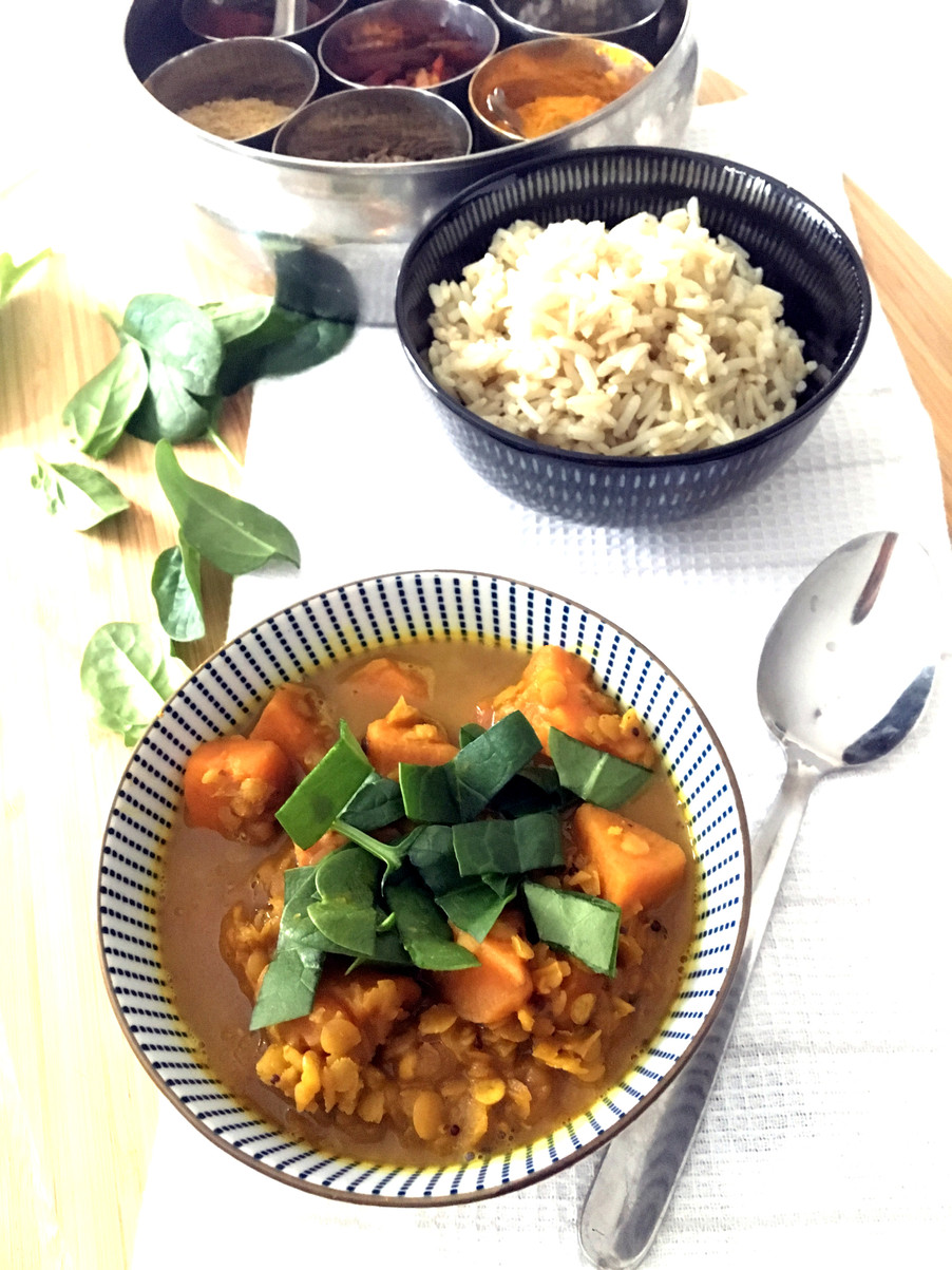 Curry di patata dolce e lenticchie / Sweet potato and lentil curry