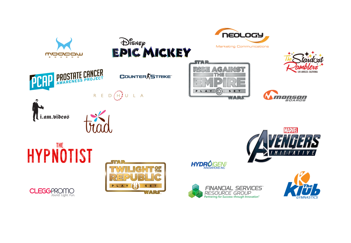 Branding and Logos for Disney Epic Mickey, Star Wars, Avengers, Counter-Strike and many others.