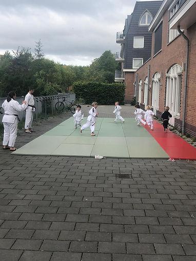 Kleine kinderen rennen rond op de judomat tijdens de warming-up