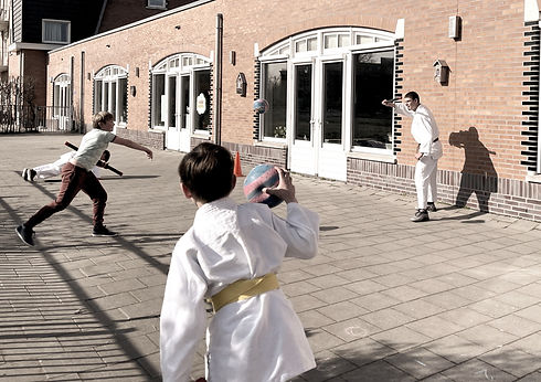 Dynamisch spelletje tijdens de ju jutsu (jiujitsu les) met een bal, een stok, blije kinderen pushups