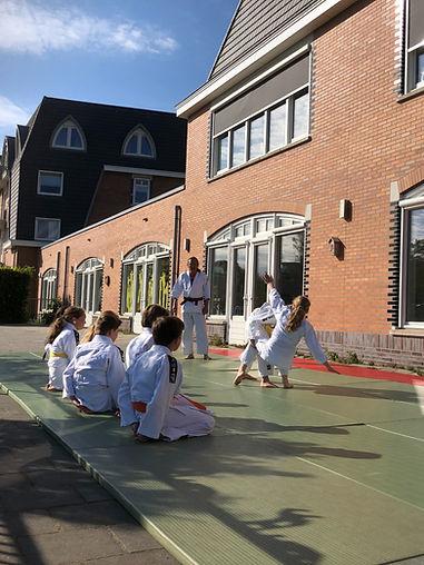 Kinderen demonstreren een judoworp tijdens de les. Een gooit, één valt en de rest kijkt