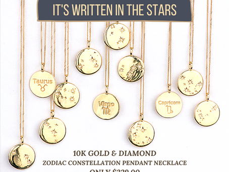 Zodiac and Constellation gold and diamond pendants