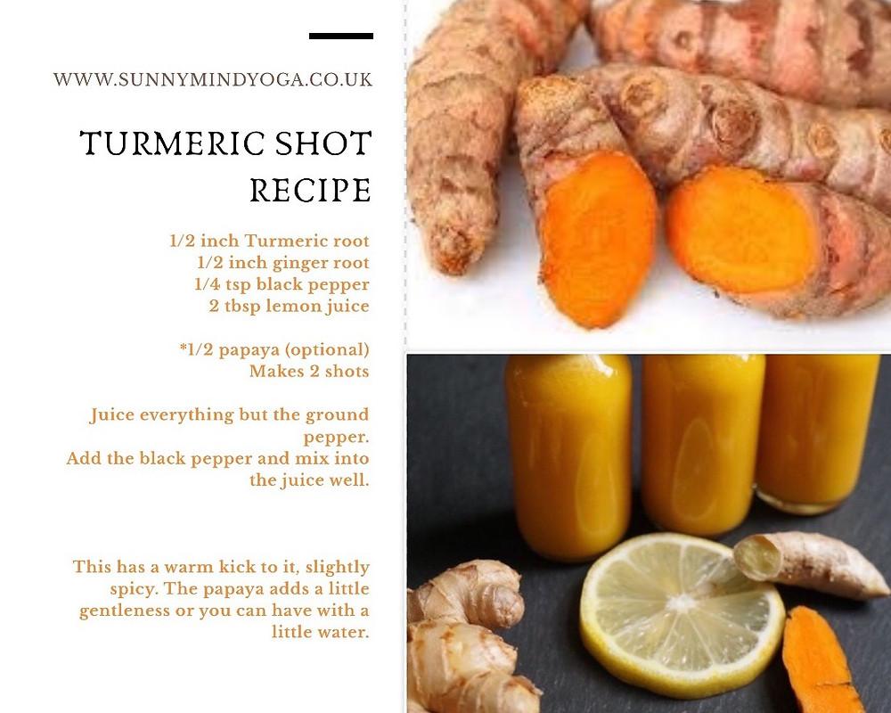 turmeric root, ginger and lemon