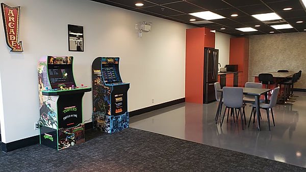 Fridge Coffee Machine Dishwashers 8 Tables 6 Bar Stools Chalk Board Wall TV Microwave Event Space Lounge Arcade