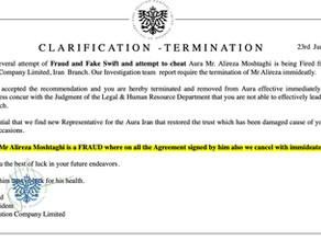 Clarification about Termination of Mr Alireza Moshtaghi : Aura Solution Company Limited