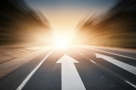 Conceptual image of asphalt road and dir