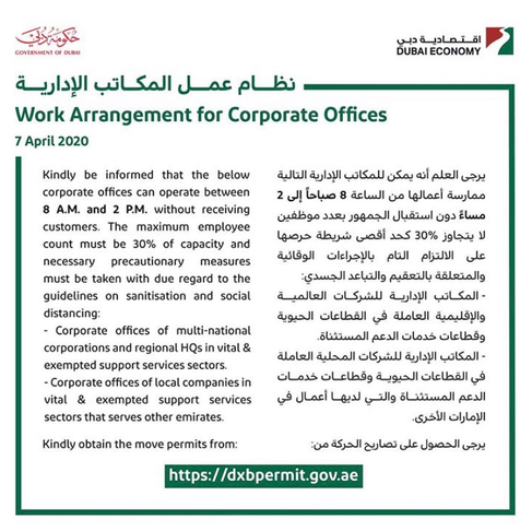 Work arrangements for Corporate offices.