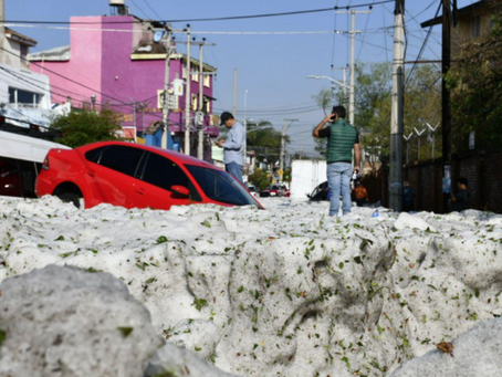 Hail storm buries Mexican city under 6 feet of ice.