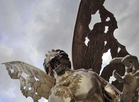Mysterious humanoid is seen ominously floating in California skies.
