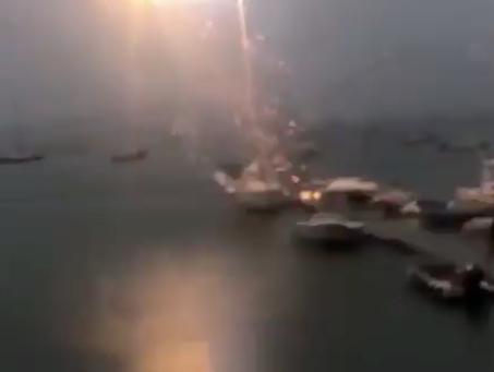 Shocking video shows sailboat blasted by lightning