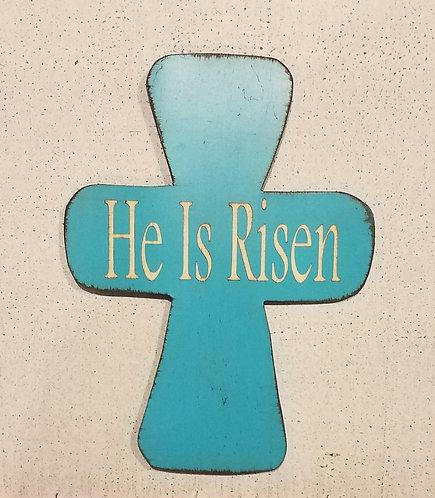 He Is Risen Cross Turquoise
