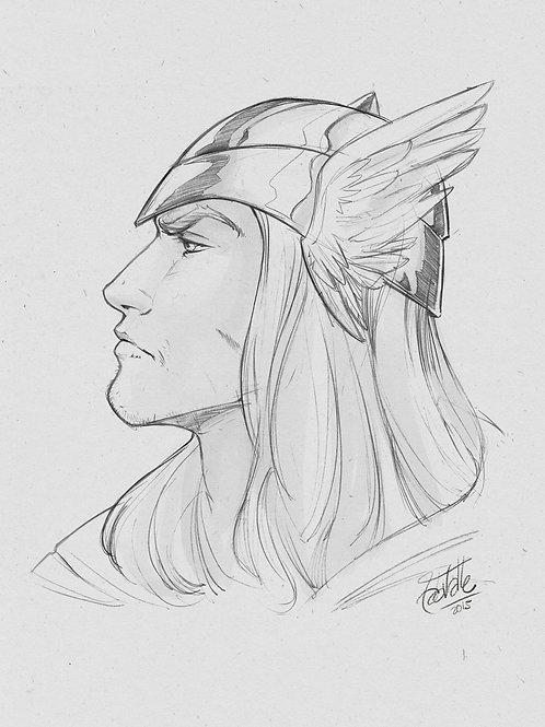 Pencil Head Sketch - 9x12in