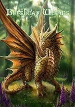 """AN16 """"Friendly Dragon"""" Birthday Wishes Card"""