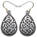 "EAR329 Pewter Egg Celtic Knot Earrings 1""x3/4"""