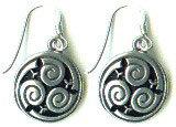 "EAR331 Pewter Spiral Celtic Knot Wire Earrings 5/8"""