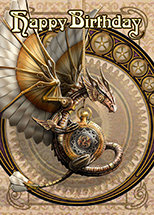 "AN53 ""Clockwork Dragon"" Birthday Wishes Card"