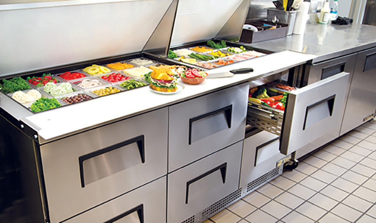 True Prep table with refrigerated drawer for storing and ease of access