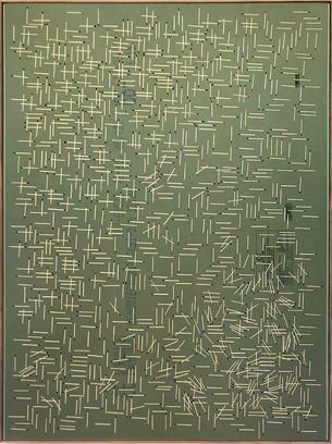 o.t. (boogie-woogie), 2018, wood veneer inlay in plasterboard, acrylic paint,126 x 92 cm