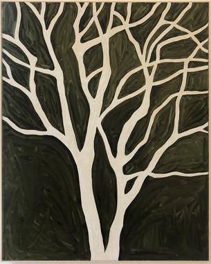 o.t. (black tree), 2019, Oil paint on processed plasterboard, 118,5 x 91,5 cm