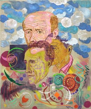 Duchamp und die Anderen, 2019/2020, Oil and acrylic on canvas, 60 x 50 cm