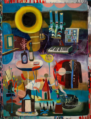 He is a musician, 2020, Oil on canvas, 180 x 140 cm