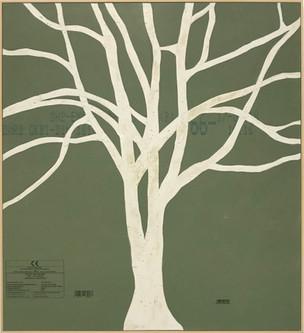 o.t. (green tree), 2019, processed plasterboard, 89 x 81 cm