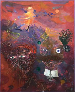 Dem Spießer fliegt vom Hals der Kopf, 2017, Oil and acrylic on canvas, 110 x 90 cm