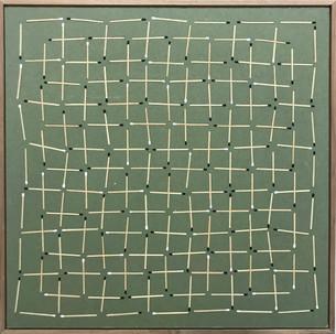 o.t. (matches grid b/w), 2018, wood veneer inlay in plasterboard, acrylic paint, 44 x 43,5 cm