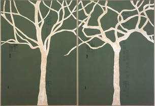 o.t. (two trees/dyptic), 2019, processed plasterboard, 126 x 91,5 cm