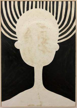 Weidenkopf, 2019, Oil paint on processed plasterboard, 87,5 x 61 cm