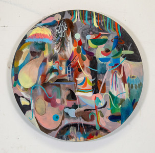 Where is the what if the what is in why, 2020, Oil on wood, 86 cm (diameter)
