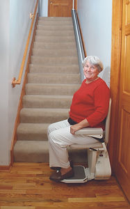 The Pinnacle chair lift is slim and light, yet has a 350lb. capacity.