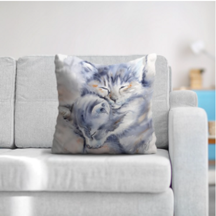 """Coussin """"Chatons"""" texture velours, 3 tailles"""