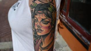Neo traditional lady sleeve by Bobby Ellis Victory Tattoo Daytona